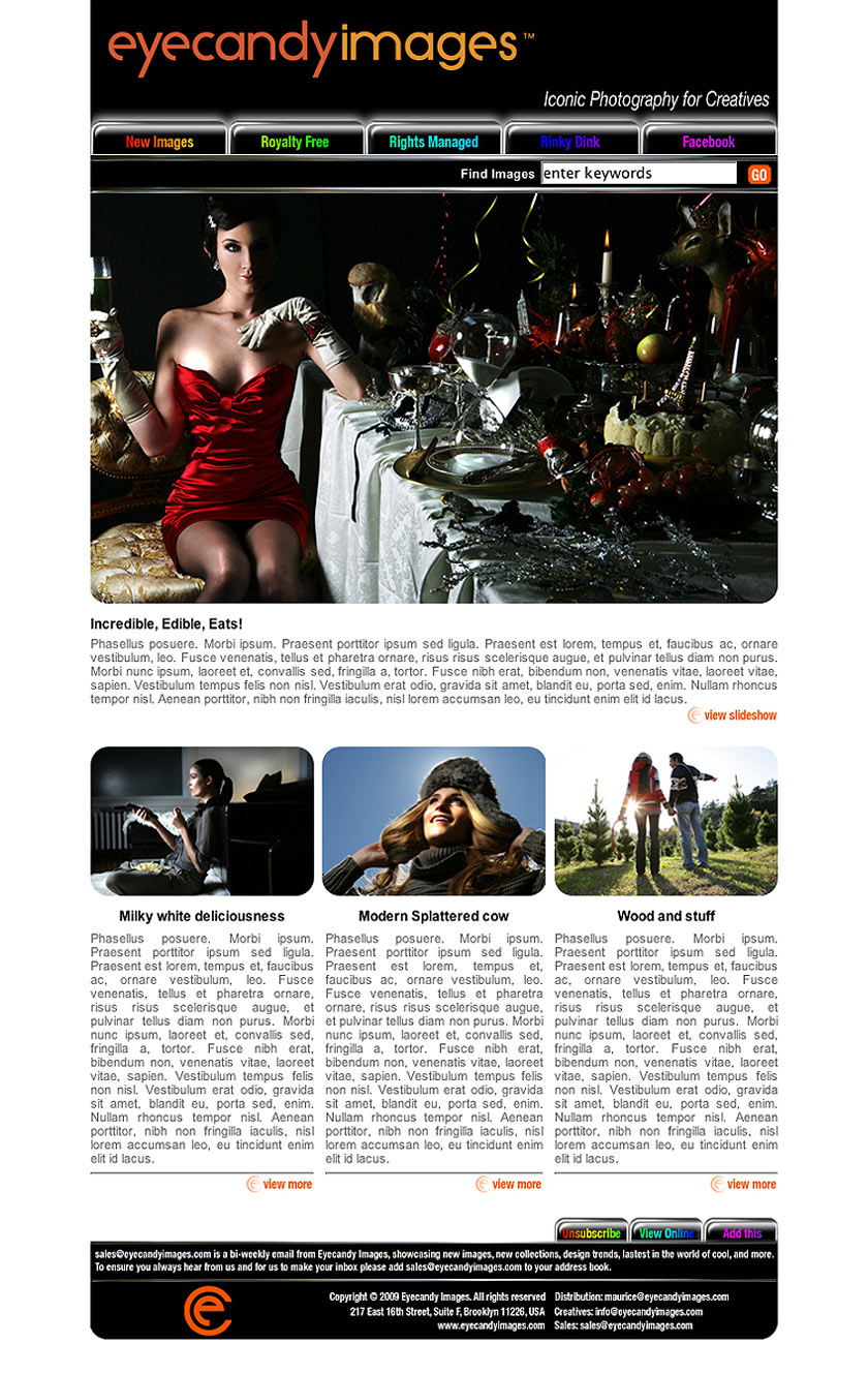 Design of HTML newsletters Eyecandy Images London