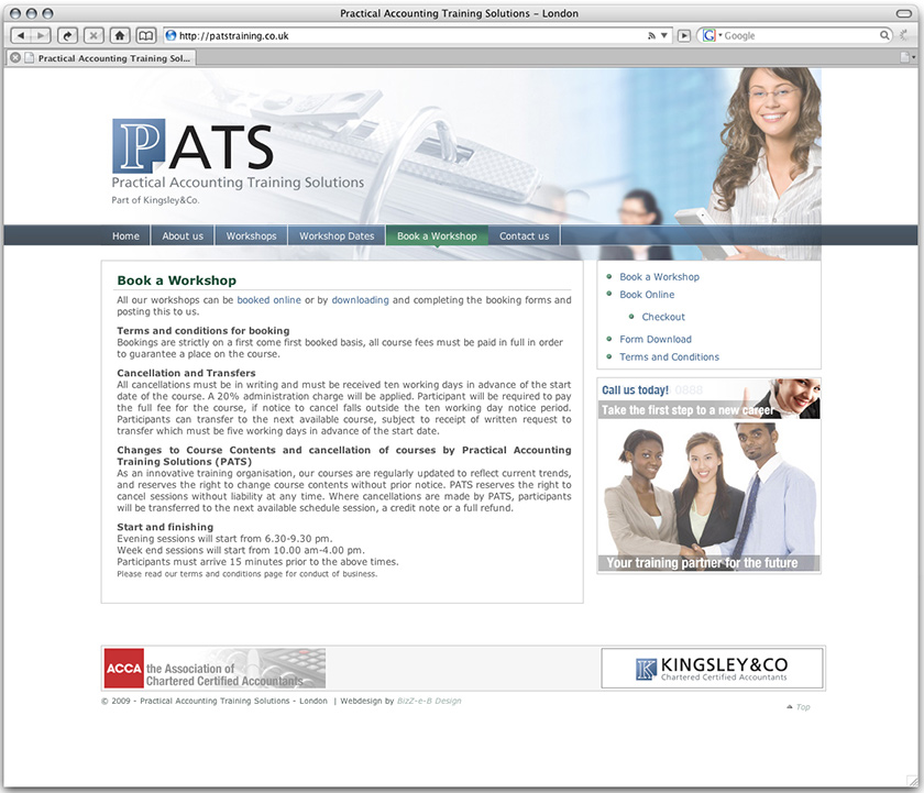 Design and build of website for PATS